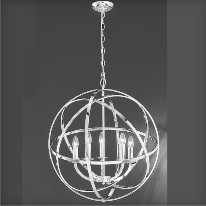 Glantown Polished Chrome 6 Arm Chandelier Style Single Pendant - ID 2649