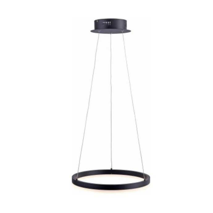 Small Dimmable Ring Light Pendant In Black Finish - ID 6935
