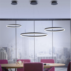 Large Dimmable Ring Light Pendant In Black Finish - ID 7123