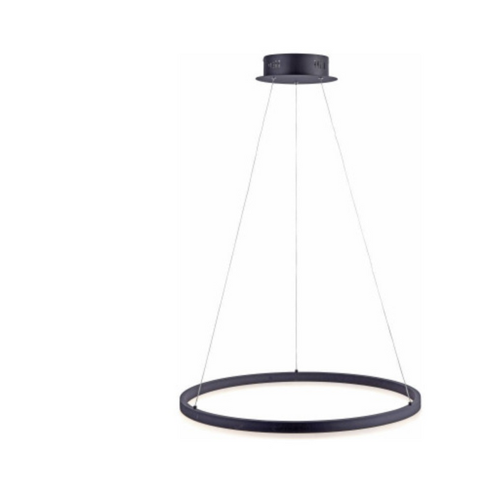 Medium Dimmable Ring Light Pendant In Black Finish - ID 7122
