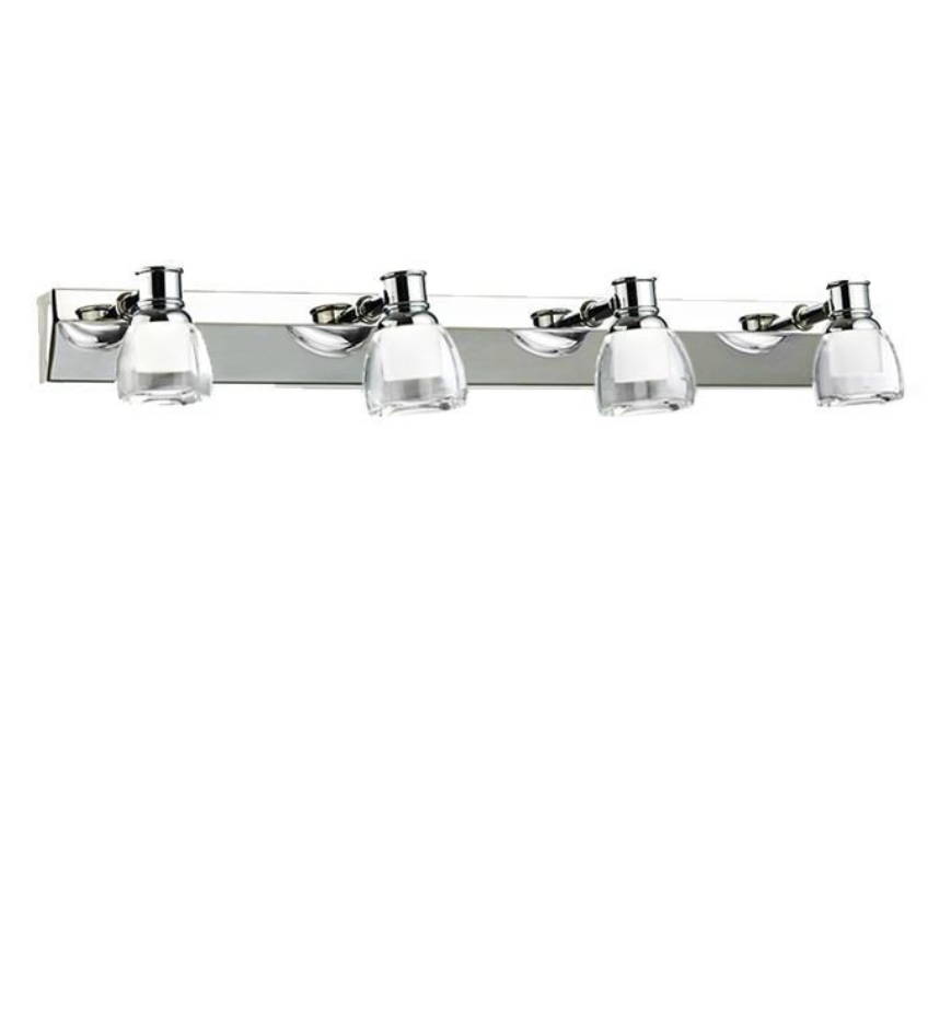 Chrome & Crystal 4 Lamp Bathroom Spotlights - ID 7137
