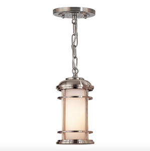 Hornchurch Brushed Steel Small Outdoor Pendant Lantern - ID 6556