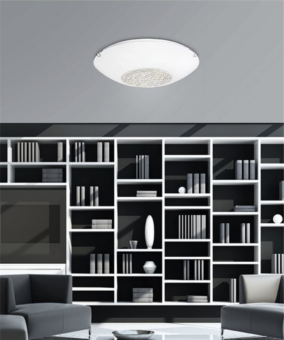 Medium White Glass & Crystal Ceiling Light - ID 7376