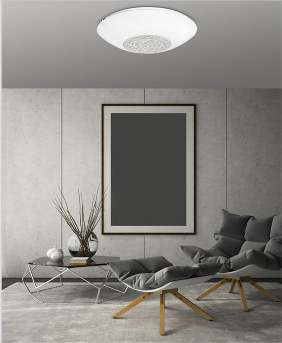 Large White Glass & Crystal Ceiling Light - ID 7377