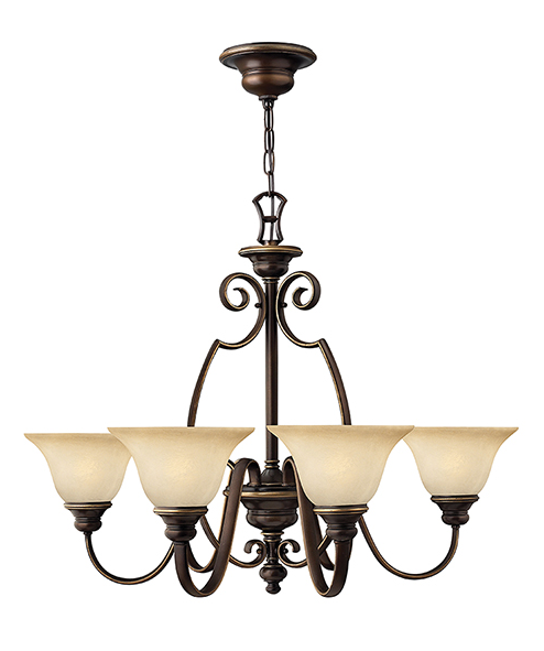 Rowly Antique Bronze 6 Lamp Chandelier - ID 7218
