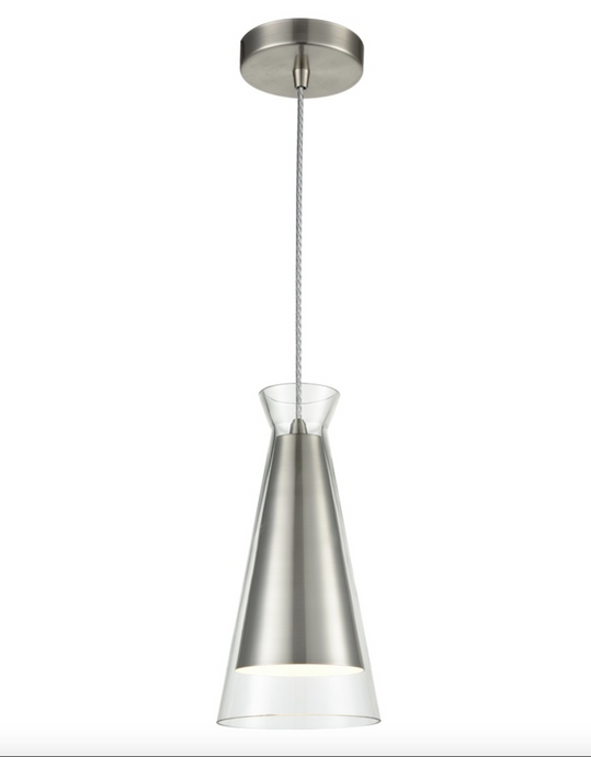 Satin Nickel and Clear Glass Single Pendant - ID 6827