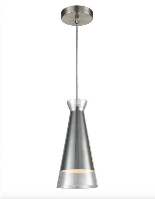 Balintore Satin Nickel and Smoked Glass Single Pendant ID 6826