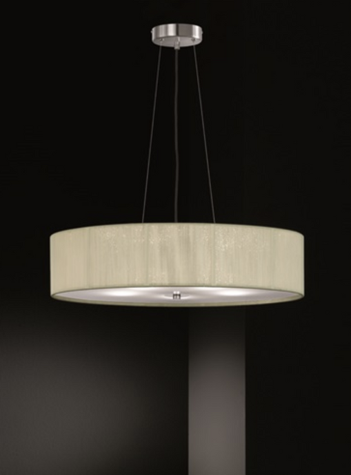 Scourie Large Satin Nickel and Cream Thread Pendant - ID 6223