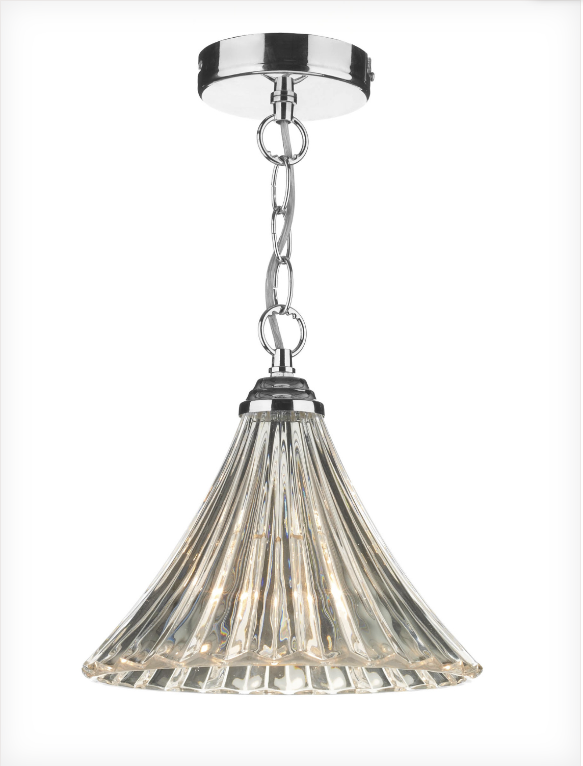 Loxwood Small Polished Chrome and Glass Single Pendant - ID 1166