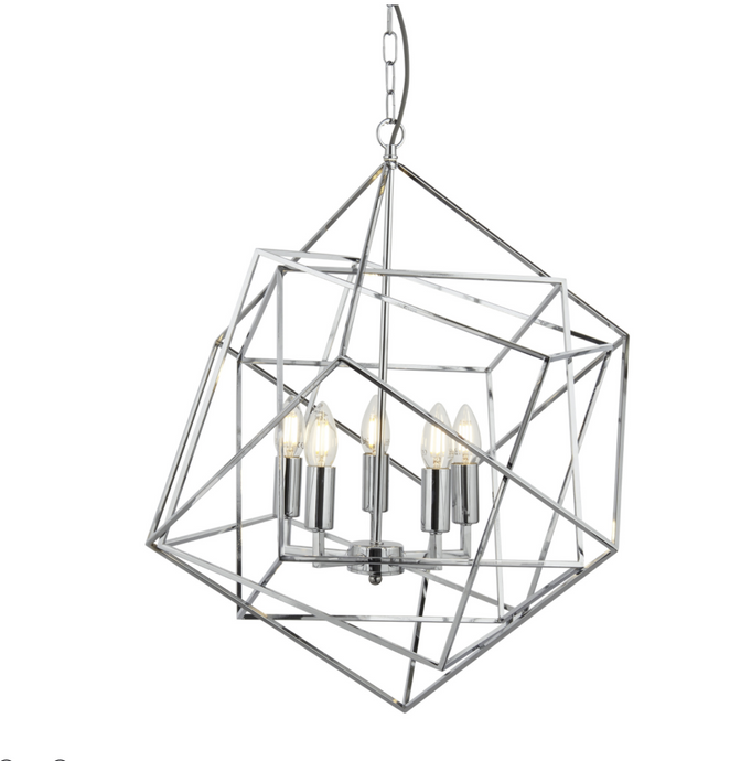 Large Geometric Cube Chrome Pendant - ID 6792