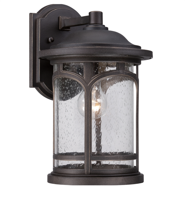 Maryland Large Bronze Cylindrical Seeded Glass Outdoor Wall Lantern - ID 6803