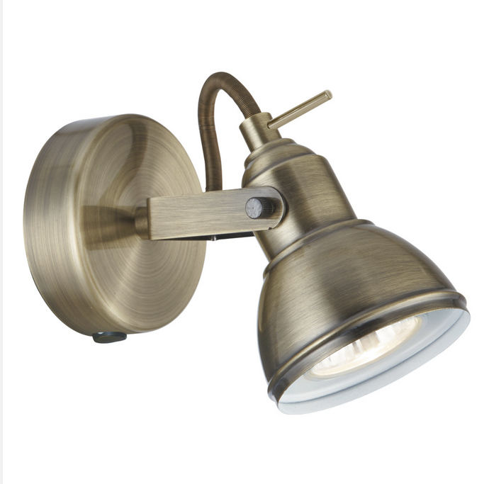 Single Antique Brass Wall Spotlight - ID 7591