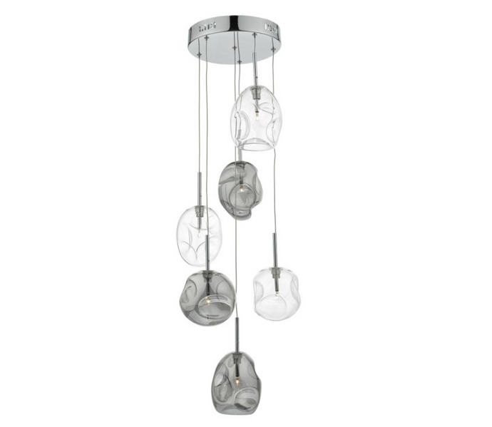 Ruxley Polished Chrome and Glass Cluster Pendant - ID 6288