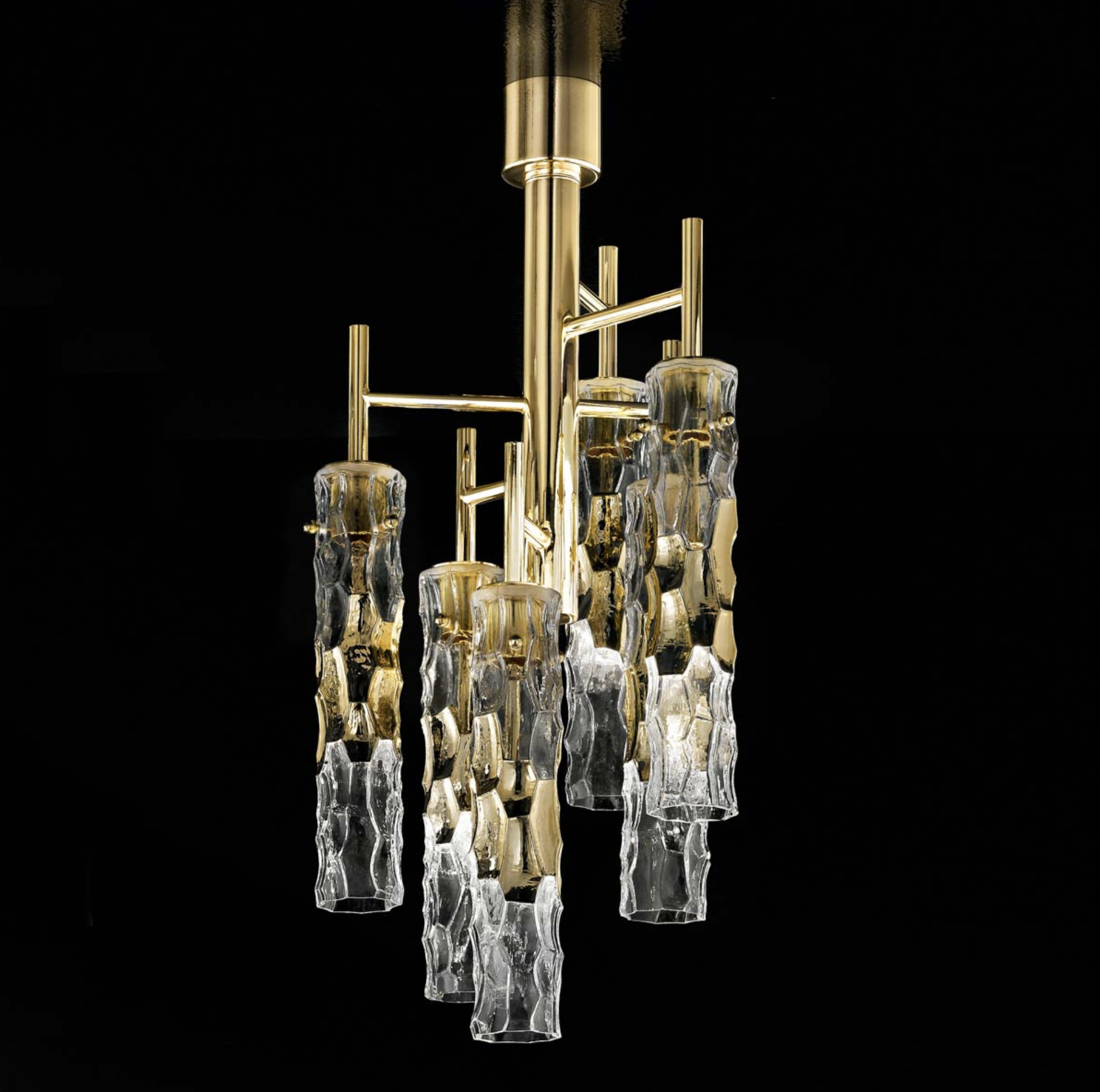 Bamboo Murano Glass 6 Light Ceiling Semi Flush Chandelier - ID 8050