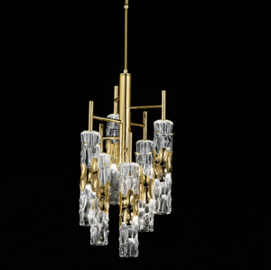 Bamboo Murano Glass 6 Light Suspension Chandelier - ID 8054