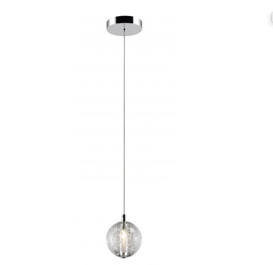 Bubbled Glass 1 Lamp LED Stairwell Pendant - ID 7794
