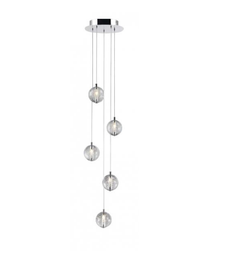 Bubbled Glass 5 Lamp LED Stairwell Pendant - ID 7808