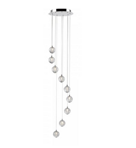 Bubbled Glass 9 Lamp LED Stairwell Pendant - ID 7809