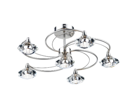 Earlsfield Satin Chrome 6 Lamp Ceiling Light - ID 7910