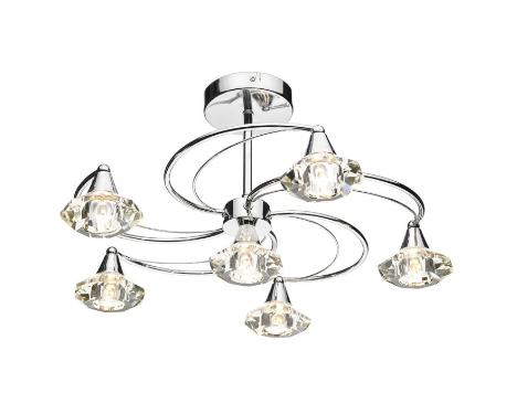 Earlsfield Polished Chrome 6 Lamp Ceiling Light - ID 1502