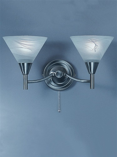 Keiss 2 Light Wall Bracket In satin nickel finish with alabaster effect glasses - ID 1883