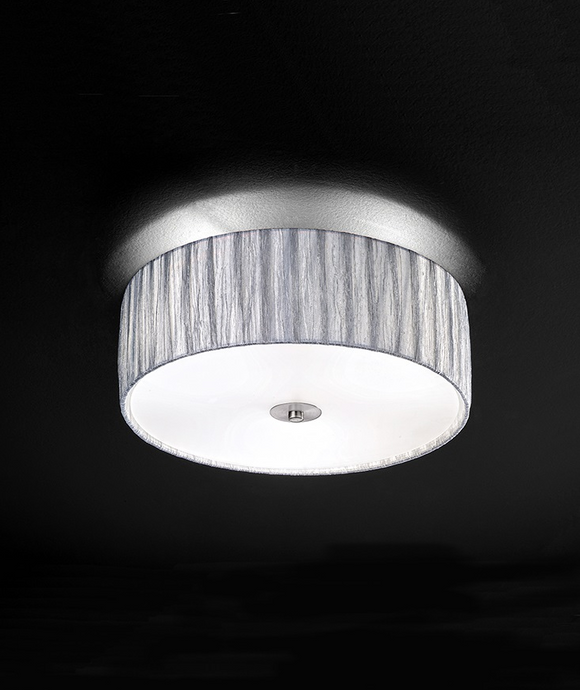Scourie 3 Light Flush Ceiling Light With Fabric Shade - ID 5444