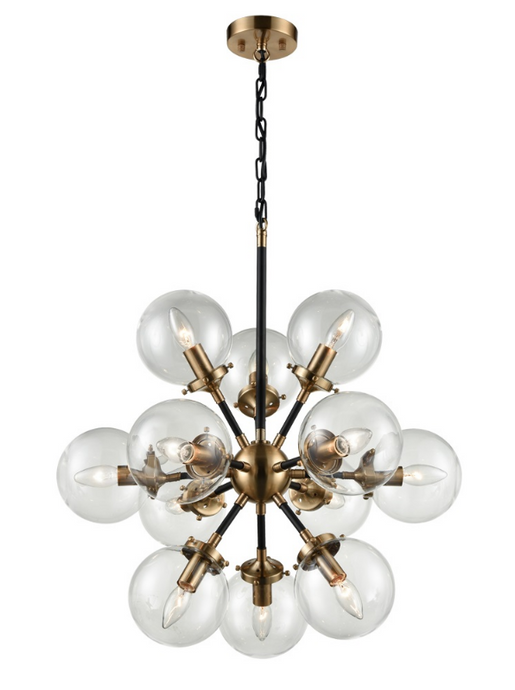 Reay 12 Light Glass Sphere Chandelier Matt Black & Antique Gold - ID 6816