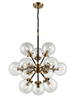 12 Light Glass Sphere Chandelier In Matt Black & Antique Gold - ID 6816