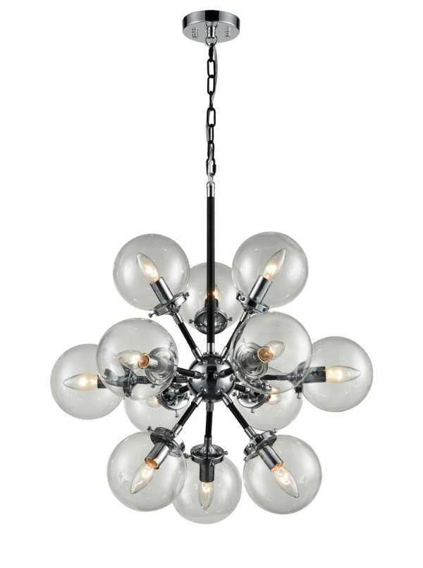 12 Light Glass Sphere Chandelier In Matt Black & Chrome Finish - ID 6843