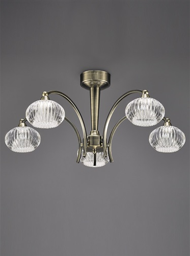 Farr Ceiling 5 Light in Antique Brass With Ribbed Glass Shades - ID 5708