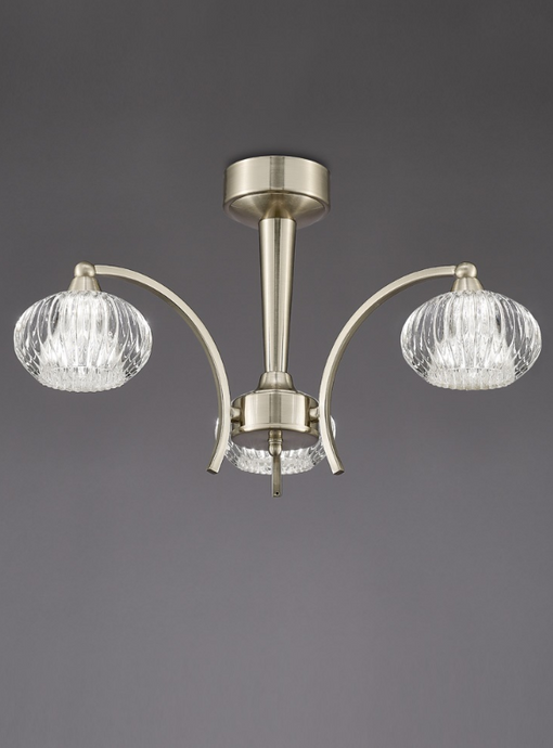 Farr Ceiling 3 Light in Satin Nickel With Ribbed Glass Shades - ID 6348