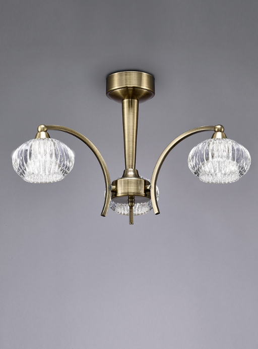 Farr Ceiling 3 Light in Antique Brass With Ribbed Glass Shades - ID 5707