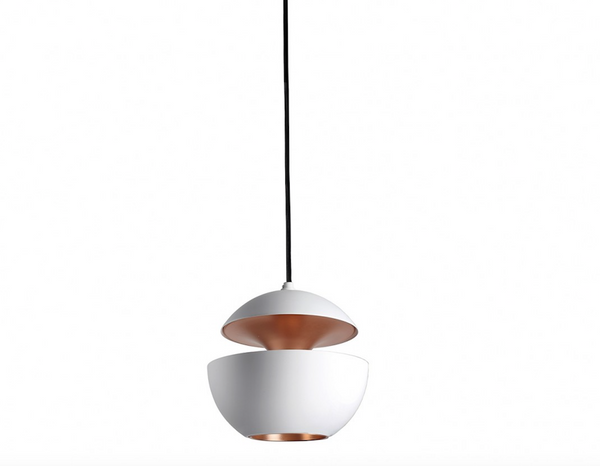 10cm Diameter Mini Aluminium Globe Pendant In White & Copper - ID 8003