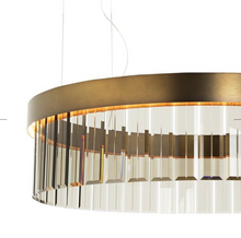 110cm Circular Chandelier In Brushed Bronze With Satin Crystal Glass - ID 8014