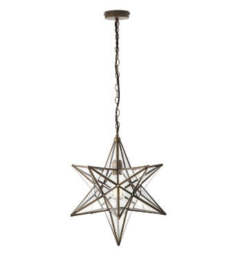 Large Star Pendant In  Antique Brass & Glass - ID 8179