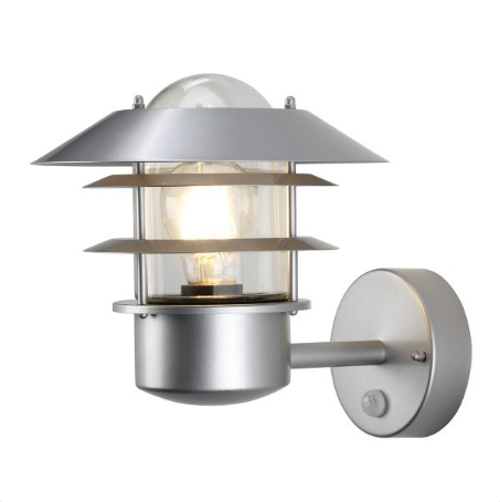 Wealdstone Satin Silver Outdoor Wall Light with PIR - ID 8321