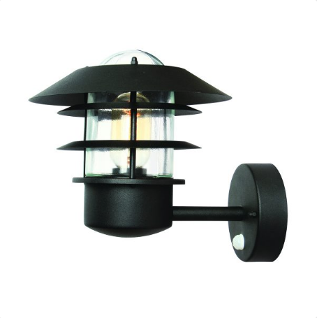 Wealdstone Black Outdoor Wall Light with PIR - ID 8322