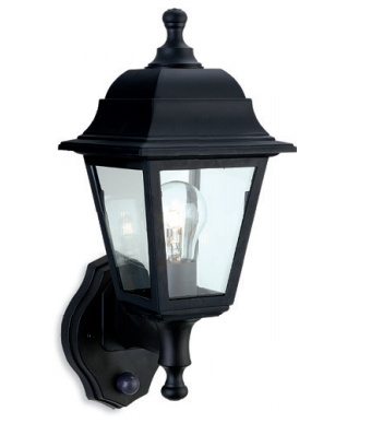 Orpington Black Outdoor Uplighter Wall Lantern with PIR - ID 8332