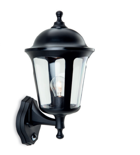 Kidbrooke Black Outdoor Uplighter Wall Lantern with PIR - ID 8334