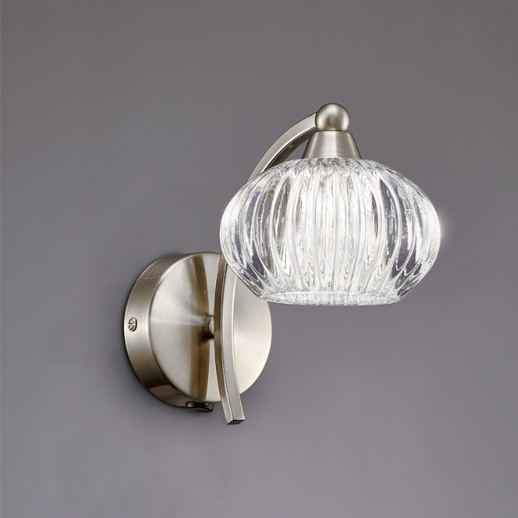 1 Light Wall Bracket In Satin Nickel With Ribbed Glass Shade - ID 6354
