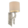 Joshua Ivory Single Wall Light With Taupe Silk Shade - ID 5446