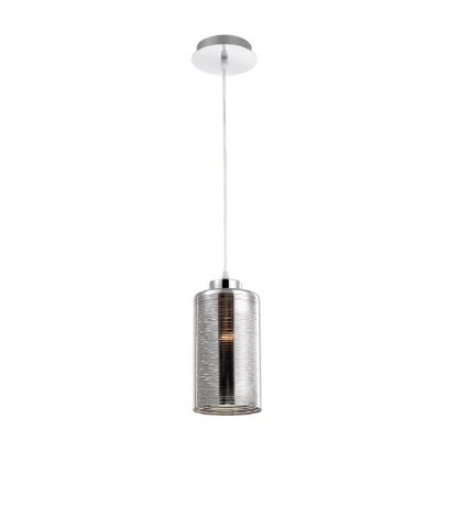 Beckenham Smoked Glass With Chrome & Aluminium Single Pendant - ID 8670
