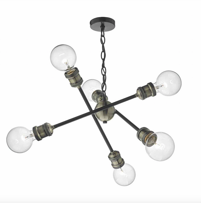 6 Light Ceiling Light In Black & Antique Brass - ID 6798