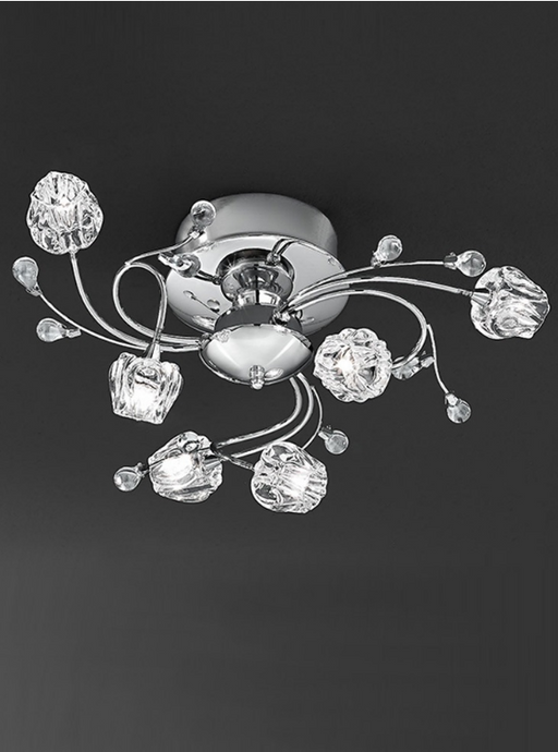Plockton 6 Light Semi Flush Ceiling Light With Glass Detail - ID 1187