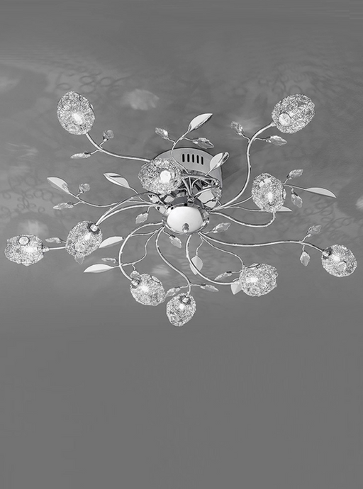 Poolewe 10 Light Semi Flush Ceiling Light With Crystal & Chrome Leaf Detail - ID 8726