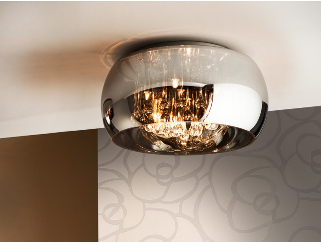 Smoked Glass & Chrome Medium 5 Light Flush Ceiling Light With Crystal Drops - ID 7868