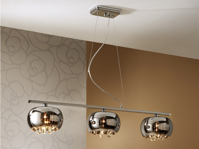Smoked Glass & Chrome 3 Light Linear Suspension Pendant With Crystal Drops - ID 7866