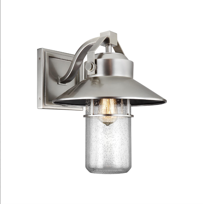 Hanbury Brushed Steel Large Exterior Wall Light - ID 8755