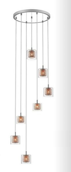 Eastcote Polished Chrome and Copper 7 Light Cluster Pendant - ID 8277