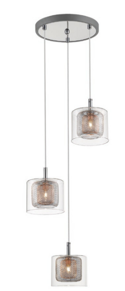 Eastcote Polished Chrome and Copper 3 Light Cluster Pendant - ID 8785